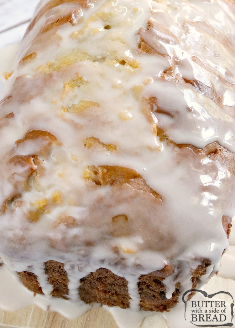 Peaches and Cream Bread is an easy quick bread that is moist, sweet, full of fresh peaches, and then topped with a simple vanilla glaze. This easy bread recipe is a great way to use up all of those peaches that are so delicious right now!