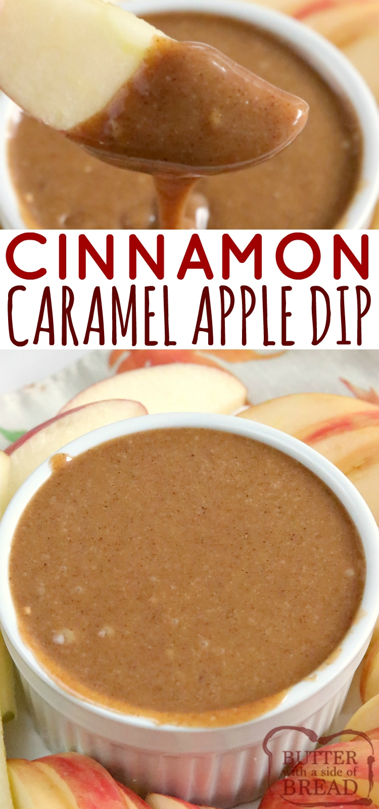 Cinnamon Caramel Apple Dip is made with only 3 ingredients - sweetened condensed milk, butterscotch chips and lots of cinnamon! This easy caramel apple dip recipe is easy and delicious!