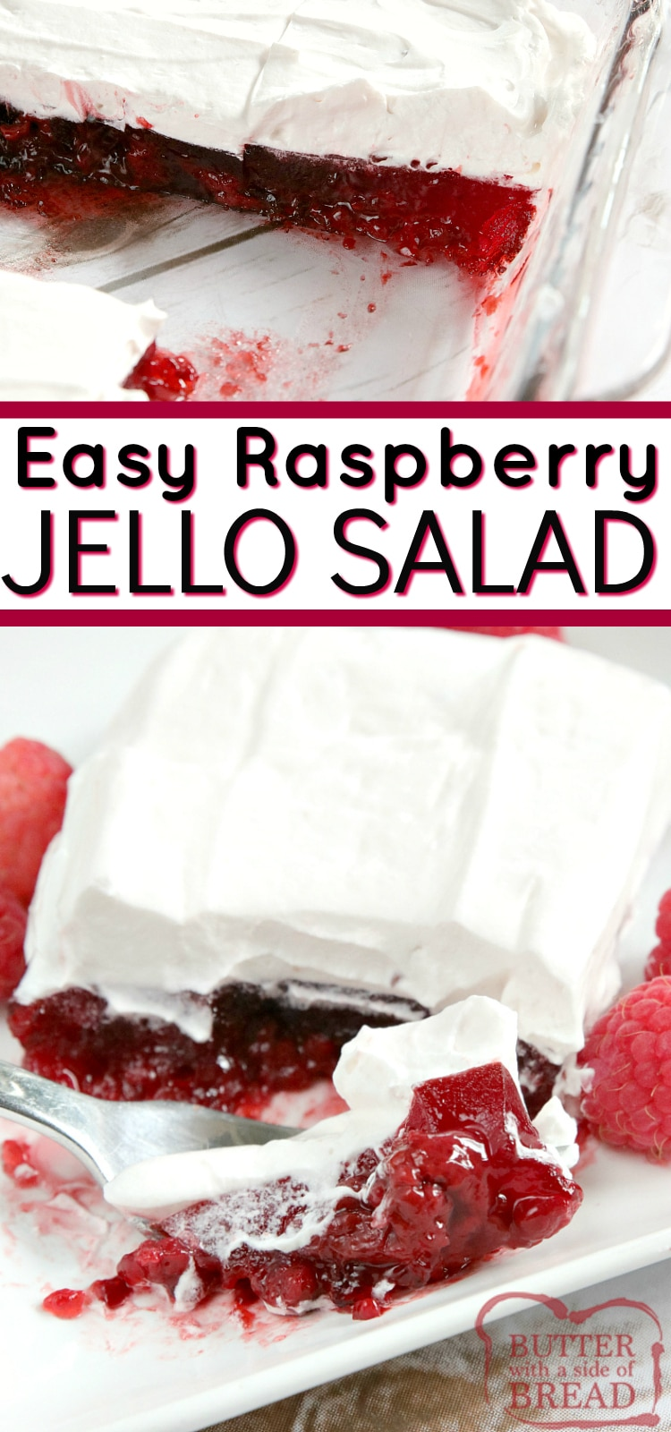 Easy Raspberry Jello Salad is made with raspberry pie filling and jello and then is topped with a creamy raspberry layer. Only four ingredients for an easy jello recipe that works as a side dish or a dessert!