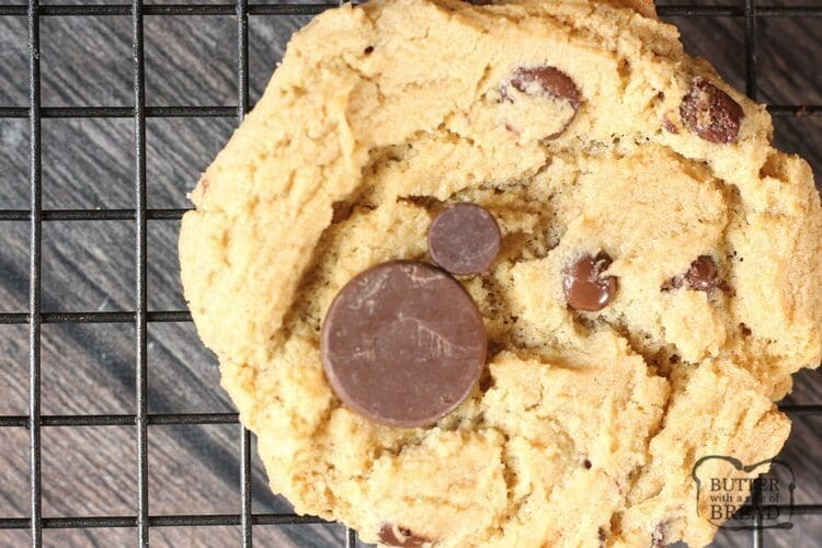 chocolate chip cookie with large chocolate chip placed on top