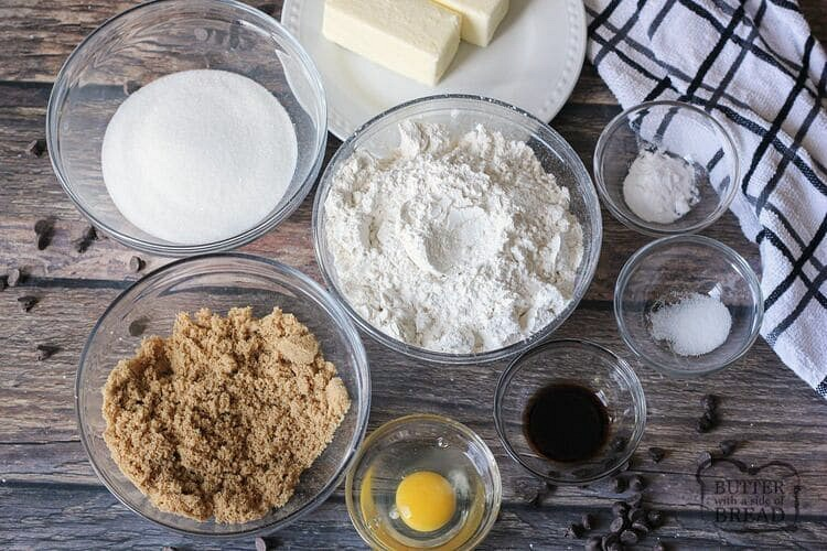 bowl of ingredients for chocolate chip cookies