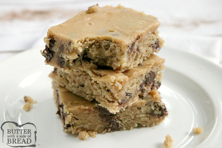 Chocolate Chip Peanut Butter Brownies are full of oats, peanut butter and chocolate chips and topped with a simple peanut butter frosting. These delicious peanut butter bars have the consistency of your favorite brownie recipe.