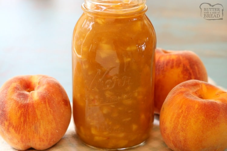 Chunky Peach Syrup made easy in 10 minutes in the microwave! Bursting with sweet peach flavor, this Homemade Peach Syrup is a fantastic way to use fresh peaches!