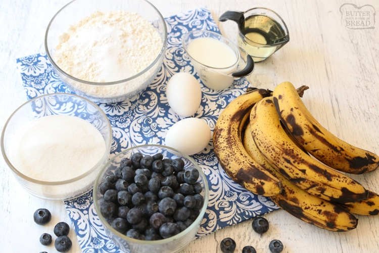 ingredients necessary for blueberry banana bars recipe