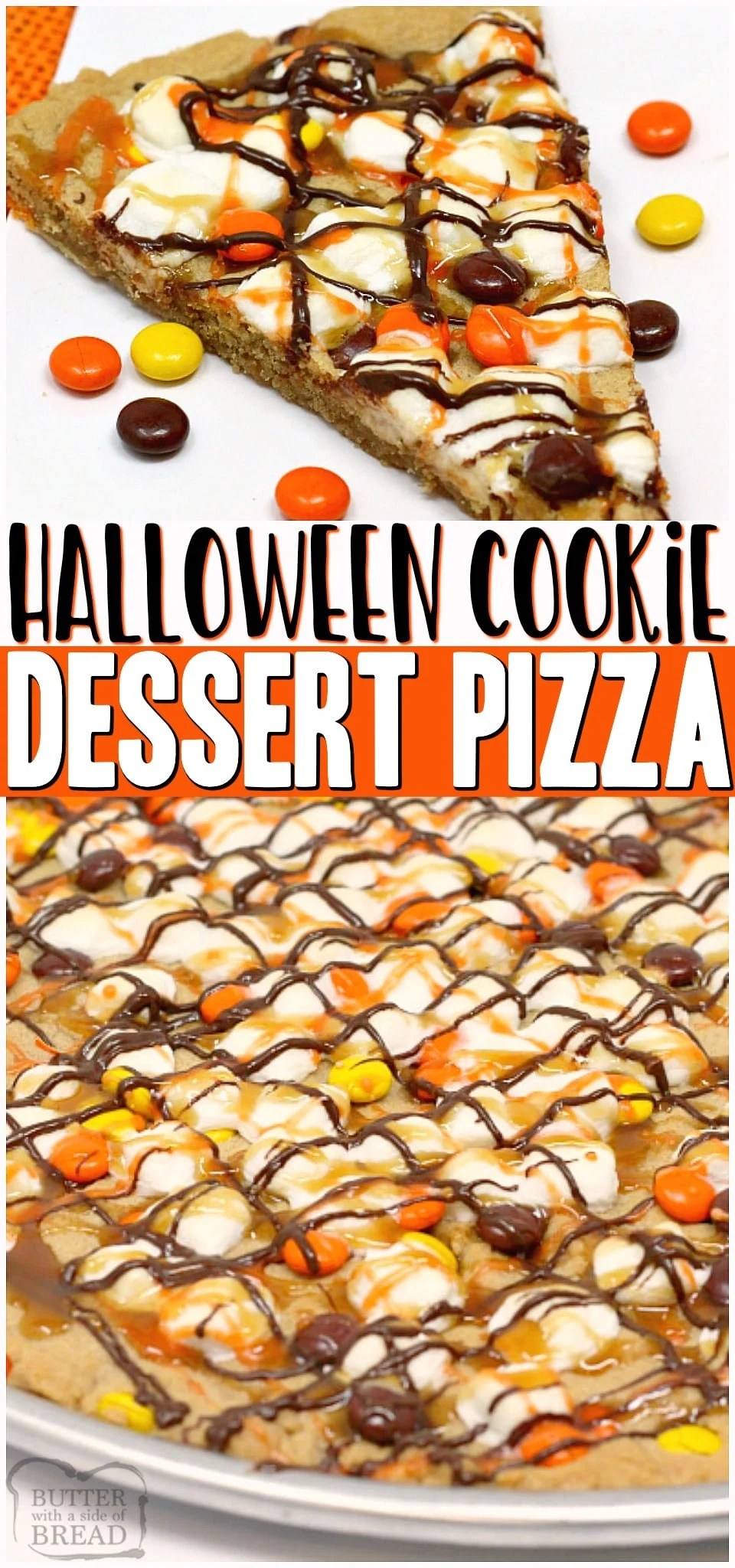 Halloween Peanut Butter Cookie Pizza is made with a delicious peanut butter cookie crust that is topped with marshmallows and Reese's Pieces and then drizzled with chocolate, caramel and orange icing! The perfect Halloween dessert! #cookie #pizza #Halloween #peanutbutter #dessert #baking #easyrecipe from BUTTER WITH A SIDE OF BREAD
