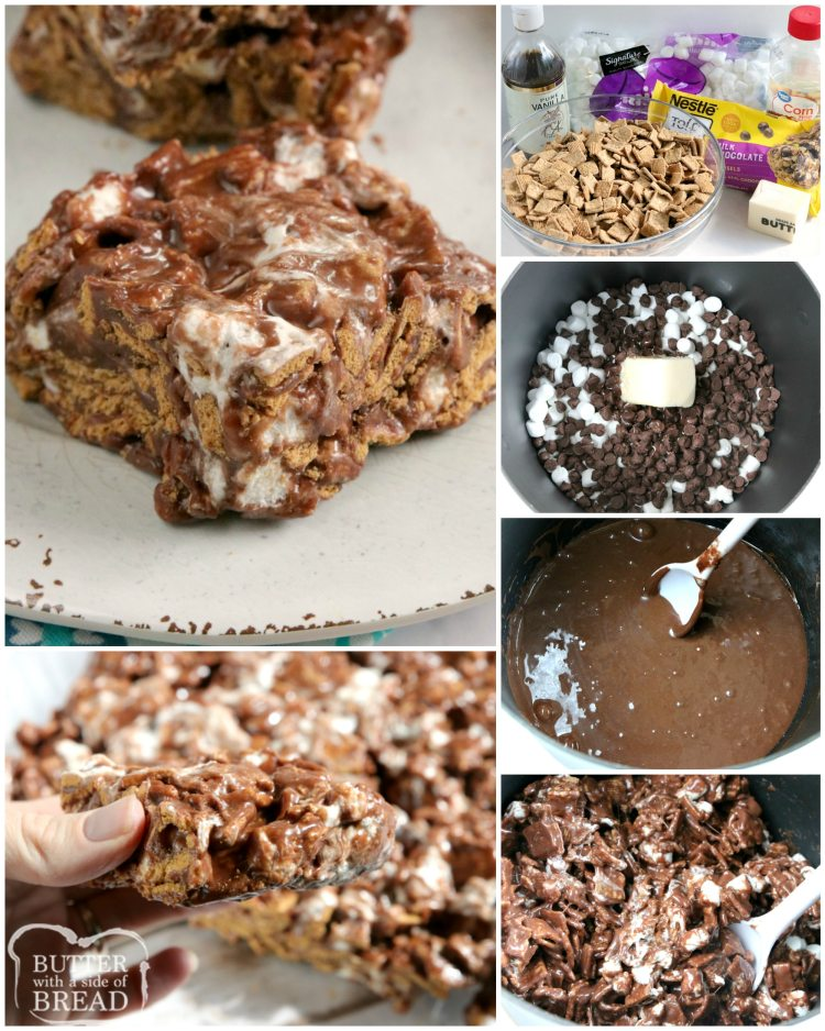Step by step instructions on how to make no bake s'mores bars