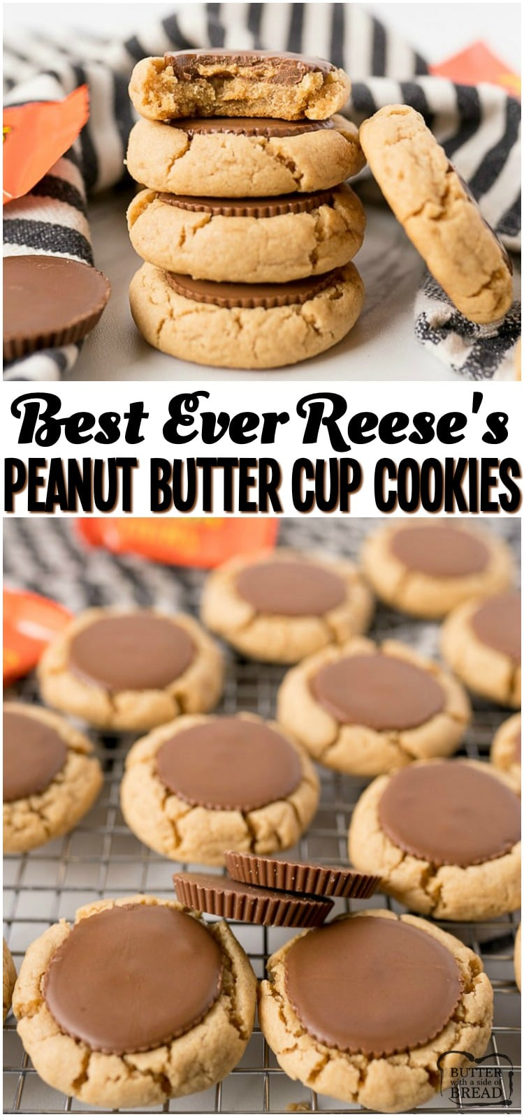 Reese's Peanut Butter Cup Cookies are a mega soft and chewy peanut butter cookie, baked and then topped with a Peanut Butter Cup straight out of the oven! Perfect peanut butter cookie for all Peanut Butter and Chocolate lovers! #reeses #peanutbutter #cookies #peatnutbuttercup #dessert #chocolate #dessert #baking #recipe from BUTTER WITH A SIDE OF BREAD