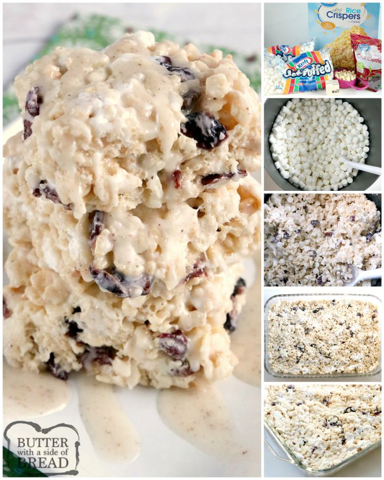Step by step instructions on how to make cranberry rice krispie treats