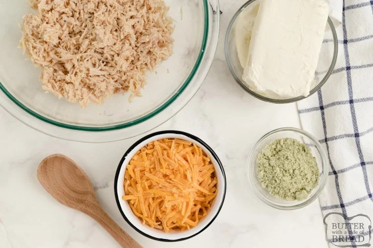 Ingredients in ranch dip with chicken and cream cheese