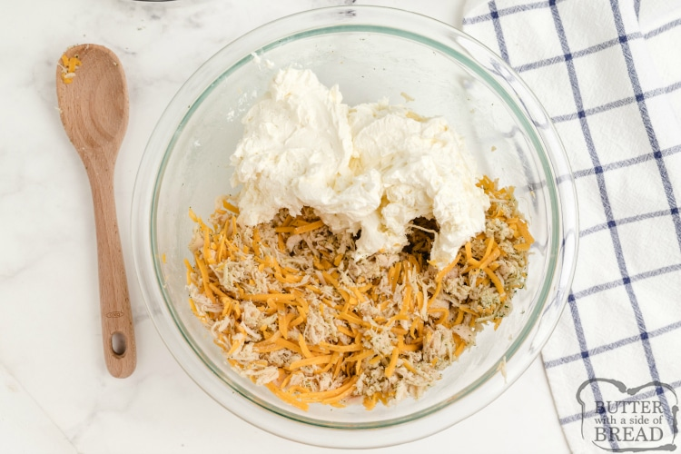 Making ranch dip with chicken and cream cheese
