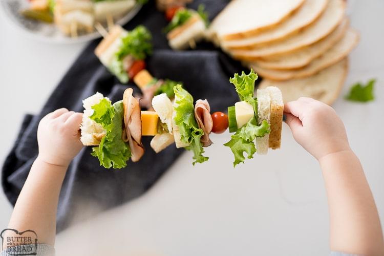 sandwich on a skewer as an appetizer