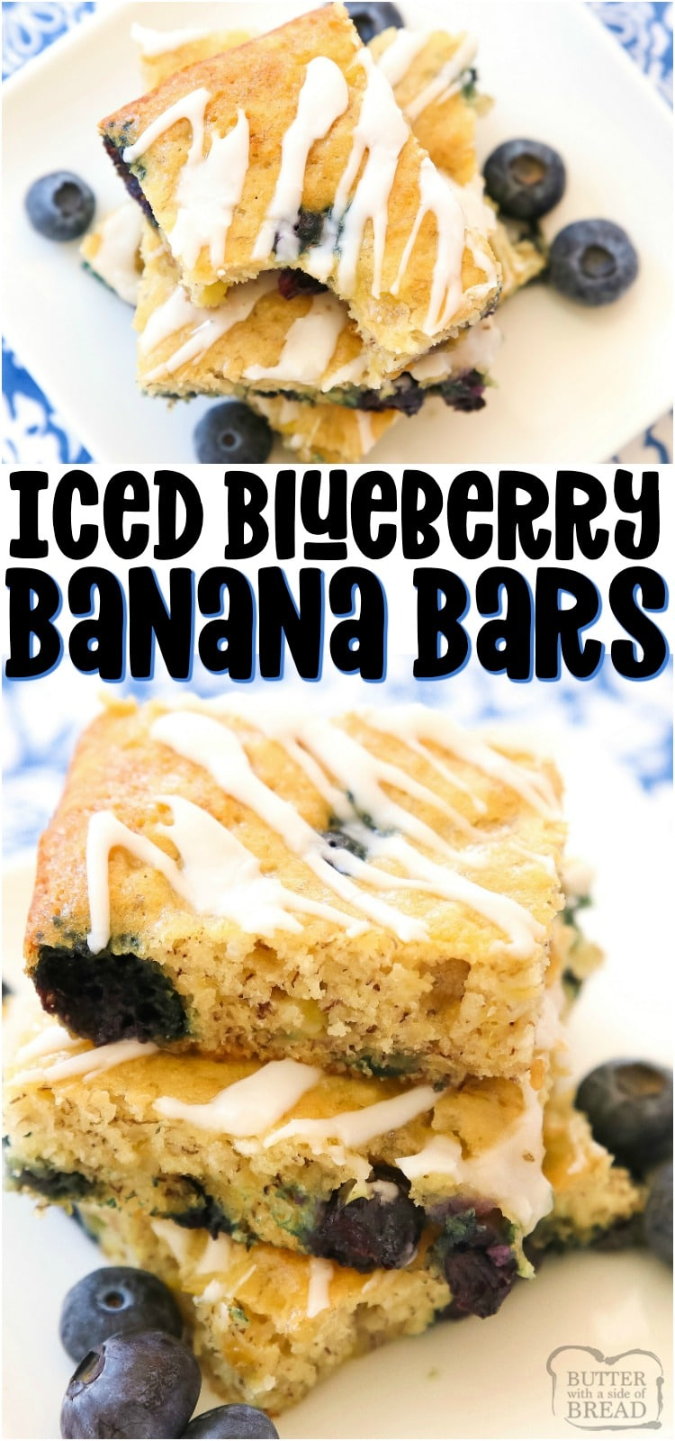Glazed Blueberry Banana Bars are a simple & delicious ripe banana recipe that's even better than banana bread! Great for breakfast, lunch, snacking, and it even makes a great dessert! #banana #blueberries #bananabars #baking #snack #recipe from BUTTER WITH A SIDE OF BREAD