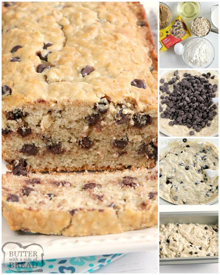 Step by step instructions on making chocolate chip oatmeal bread