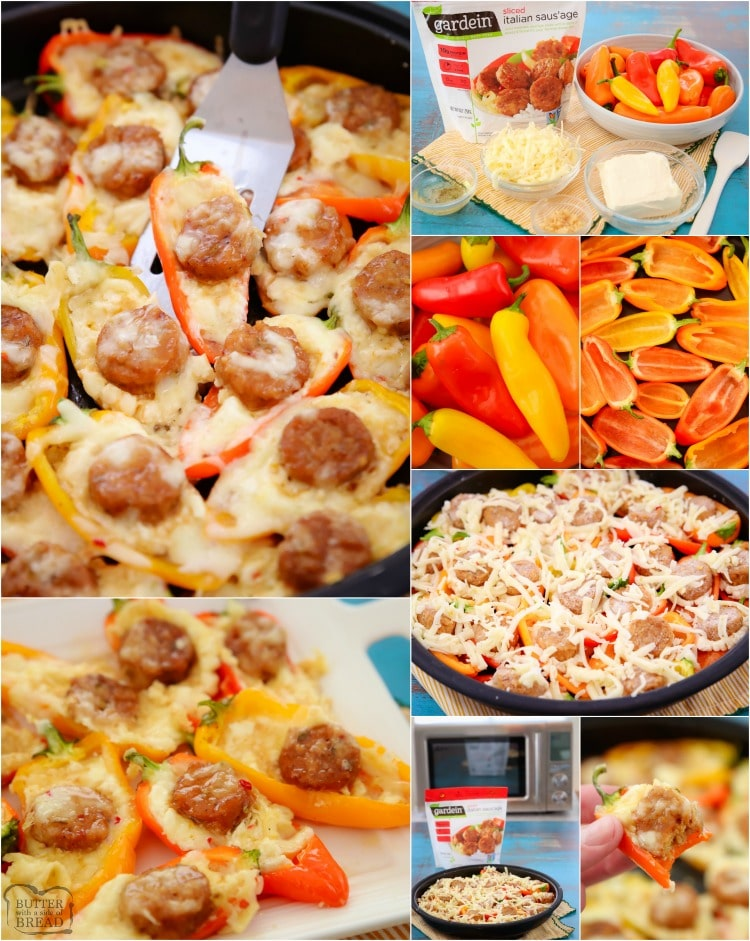 Sausage and Cheese Stuffed Mini Peppers