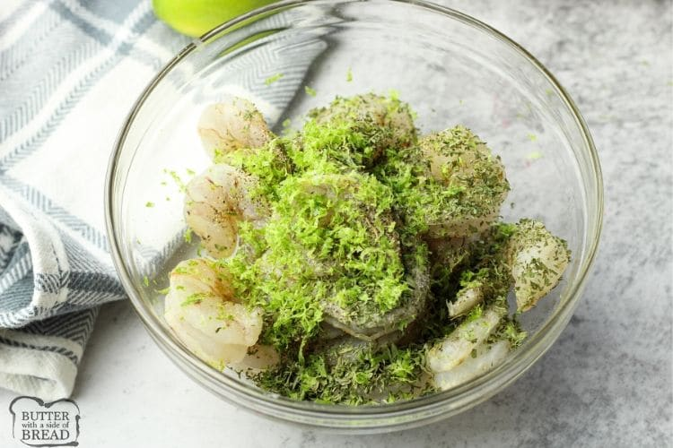 shrimp with lime zest