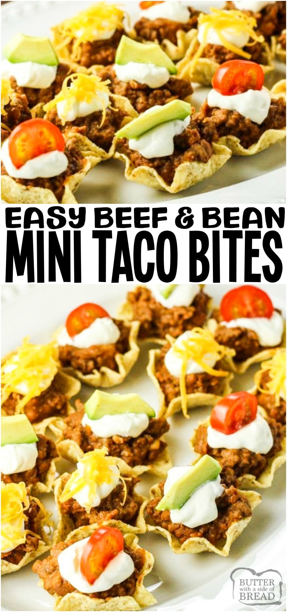 Taco Bites are tortilla chips filled with a combination of ground beef, refried beans and taco seasoning topped off with your favorite toppings. These mini taco bites are perfect to serve as an appetizer or a fun family meal.