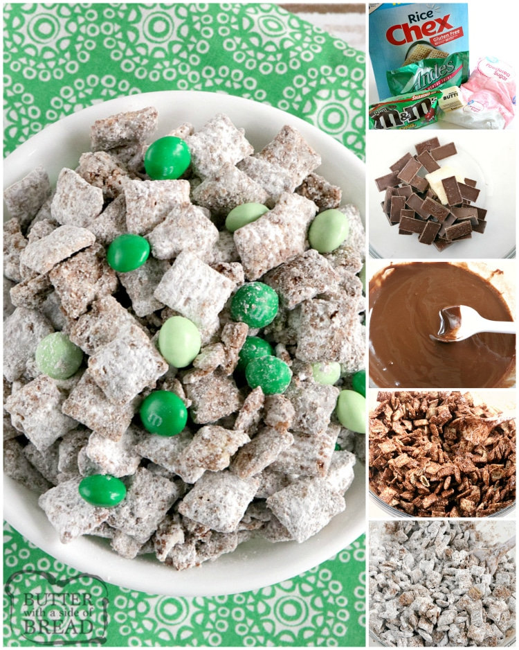 Step by step instructions on making muddy buddies with mint