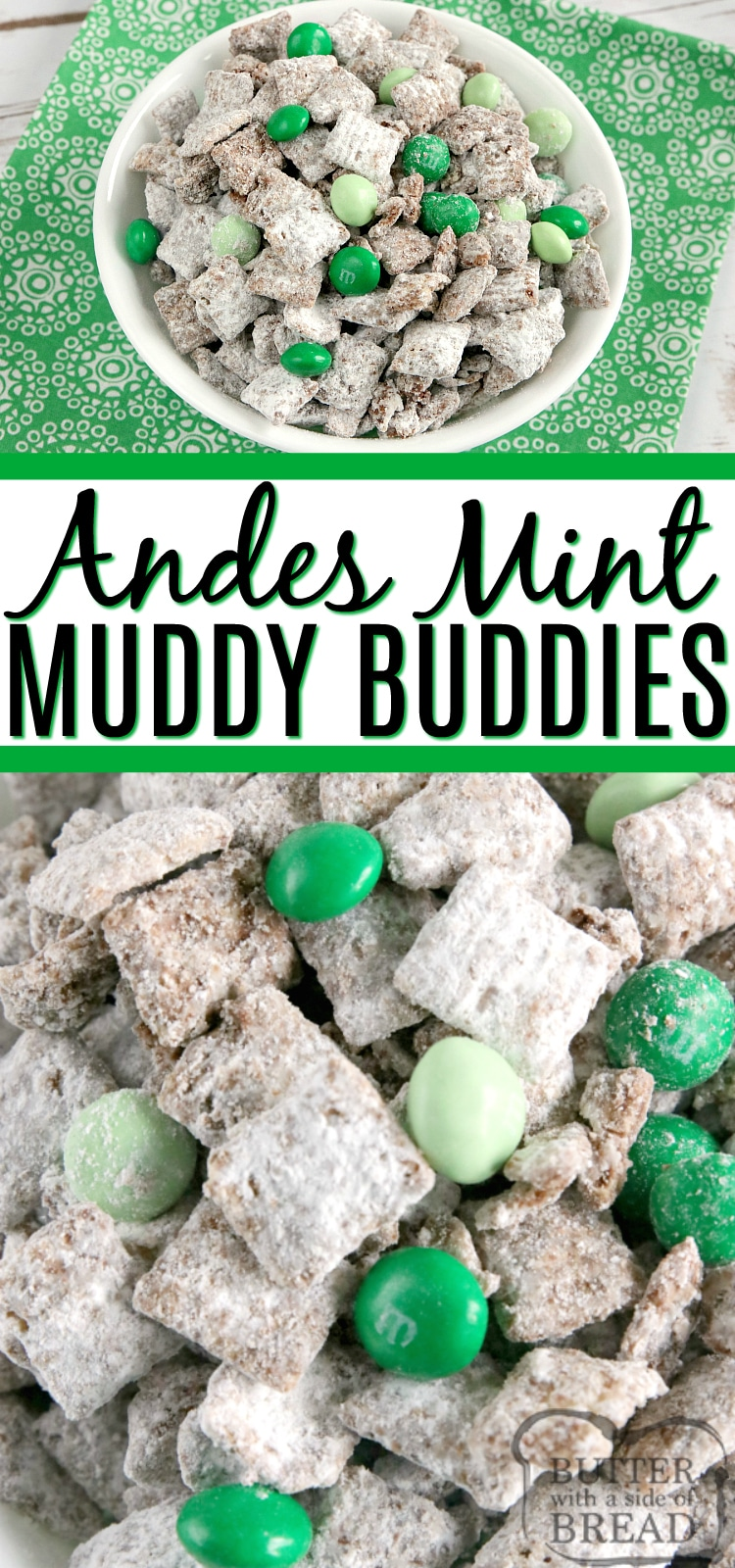 Mint Muddy Buddies are made in just a few minutes with only 5 ingredients! The chocolate mint coating is made by melting Andes mints - so easy and delicious! #glutenfree #stpatricksday #chexmix #dessert #nobake #mint #chocolate #M&Ms