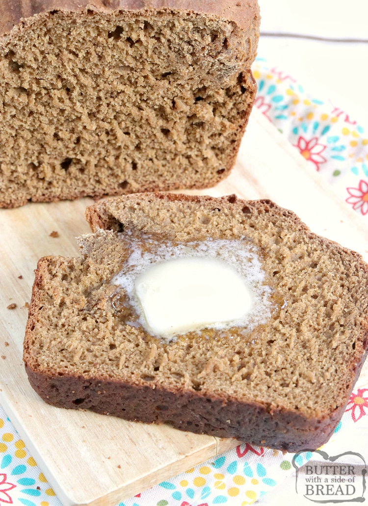 No Yeast Wheat Bread that is made without yeast, no eggs, no mixer or kneading required! This simple bread recipe is sweet, moist and so delicious, it's hard to believe there isn't any yeast in it.