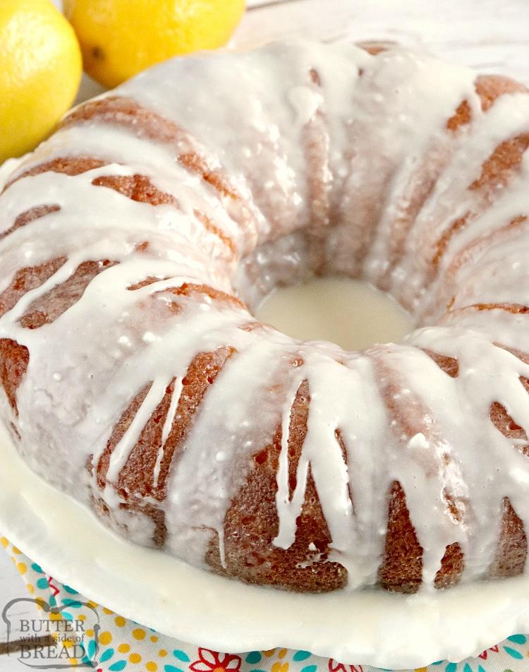 Easy Lemon cake recipe with lemon glaze