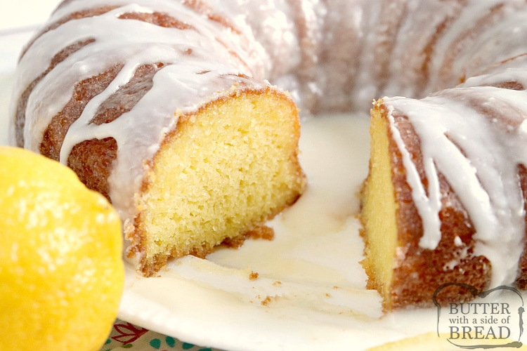 Lemon cake mix made in a bundt pan