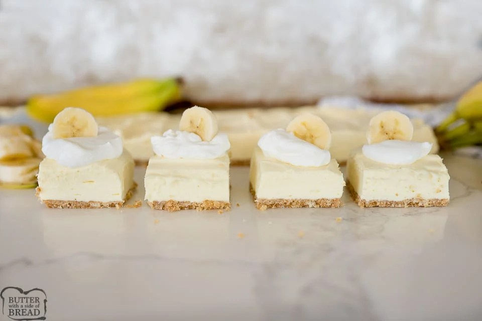 banana cream cheesecake bars, finished and served