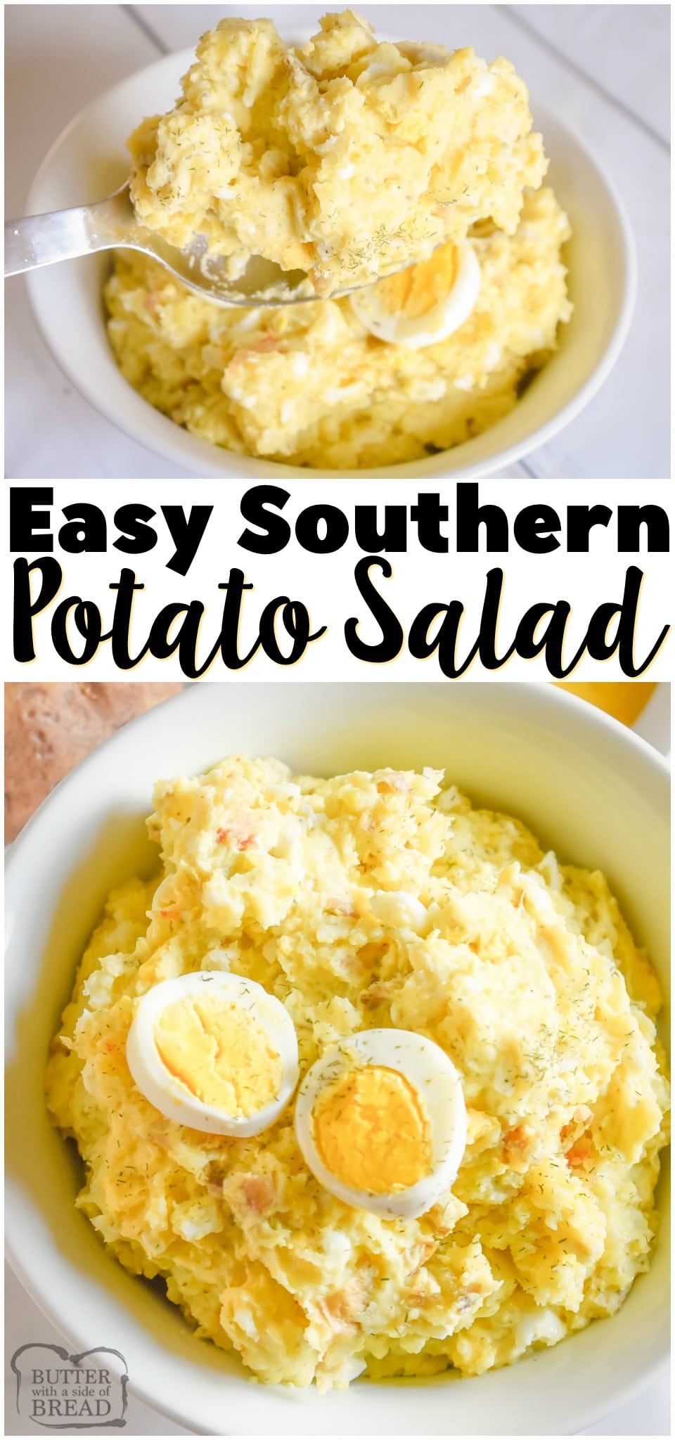 Southern Potato Salad recipe perfect for summer bbq's and get-togethers! Easy potato salad made with Yukon gold potatoes, hard boiled eggs and a simple tangy dressing. #salad #potatoes #potatosalad #southern #recipe #bbq #summer from BUTTER WITH A SIDE OF BREAD