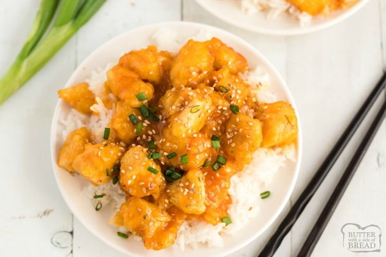 Orange Chicken Recipe Butter With A Side Of Bread
