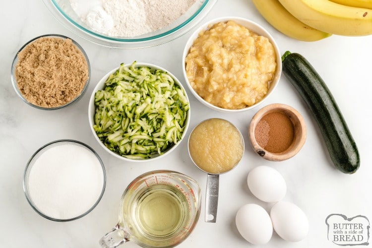 Ingredients in Zucchini Banana Bread