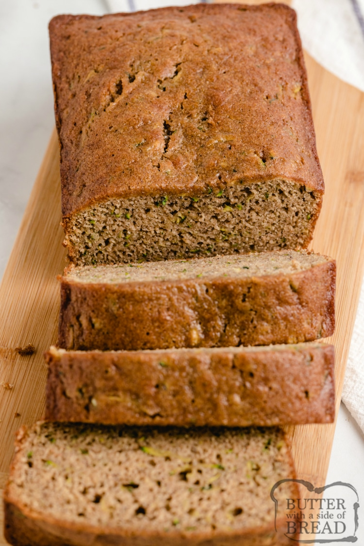 Sliced banana bread with zucchini