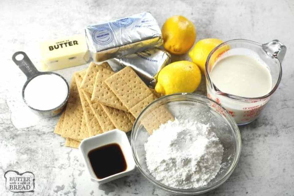 Ingredients for lemon cheesecake