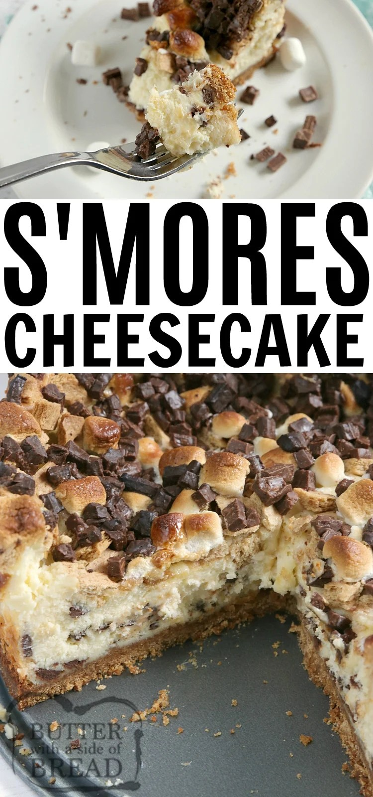 S'mores Cheesecake is a rich homemade cheesecake that is topped with chopped Hershey bars, graham cracker pieces and mini marshmallows. Making cheesecake from scratch has never been so decadent!