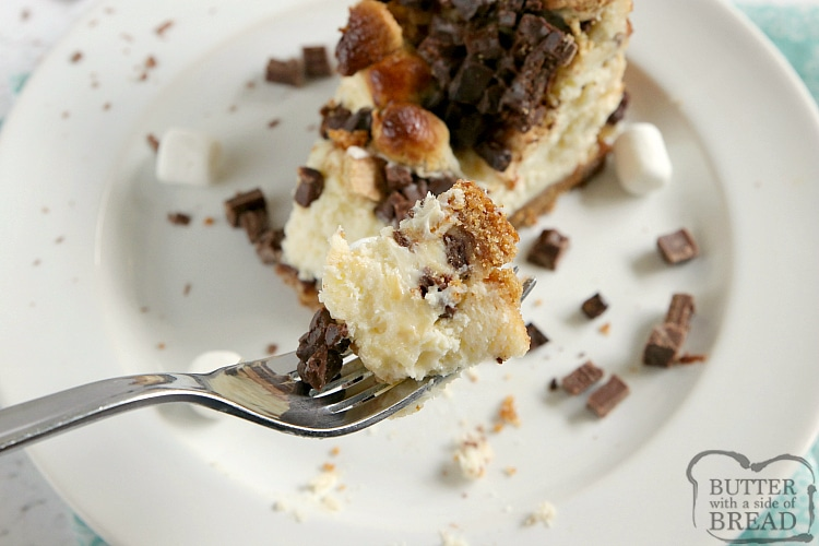 Homemade cheesecake with hershey bars, graham crackers and marshmallows