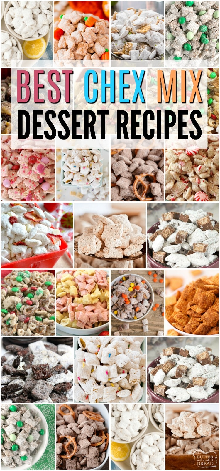 Chex Mix Dessert Recipes for everyone to enjoy! This compilation of our favorite Chex Mix Dessert Recipes from Lemon Muddy Buddies to Easy Peppermint Chex Mix is sure to be just what you're wanting for summer fun or holiday parties! #chexmix #dessertrecipes #yummysnacks #recipe from BUTTER WITH A SIDE OF BREAD