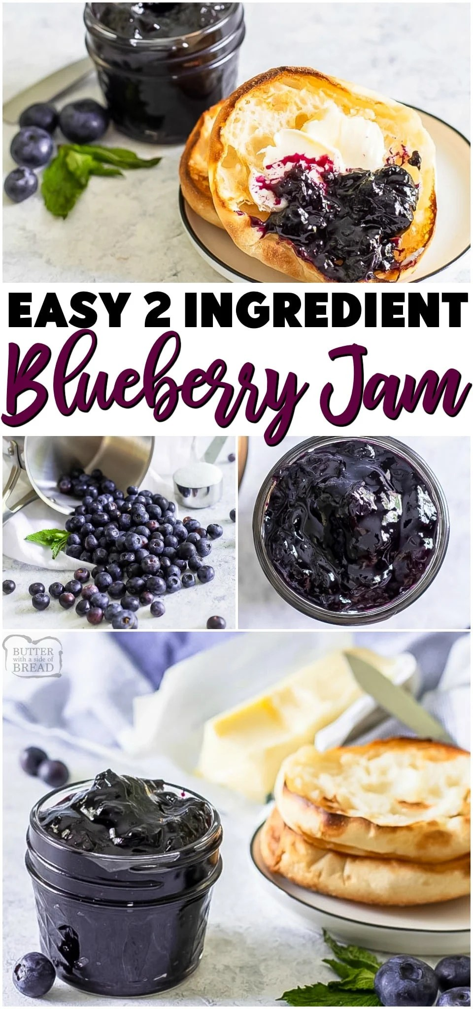 Easy blueberry jam is a delicious homemade jam recipe with only 2 ingredients (and water!) Super simple recipe that's ready in under an hour & perfect way to preserve fresh blueberries! #jam #jamrecipe #easyjam #blueberries #nopectin #freezerjam #recipe from BUTTER WITH A SIDE OF BREAD