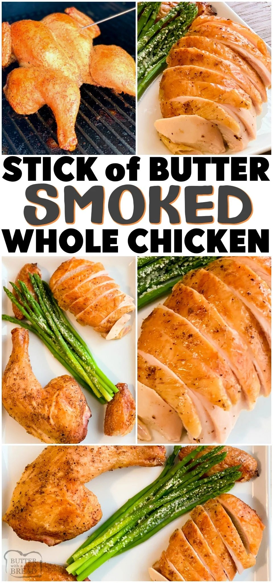 Butter Smoked Whole Chicken that's moist and super flavorful! Spatchcocked chicken cooked in a smoker, brushed with a stick of melted butter and fresh herbs for a perfect whole chicken dinner. #smokedchicken #chicken #butter #grilling #easydinner #dinnerrecipe #chickendinner #smoked #recipe from BUTTER WITH A SIDE OF BREAD