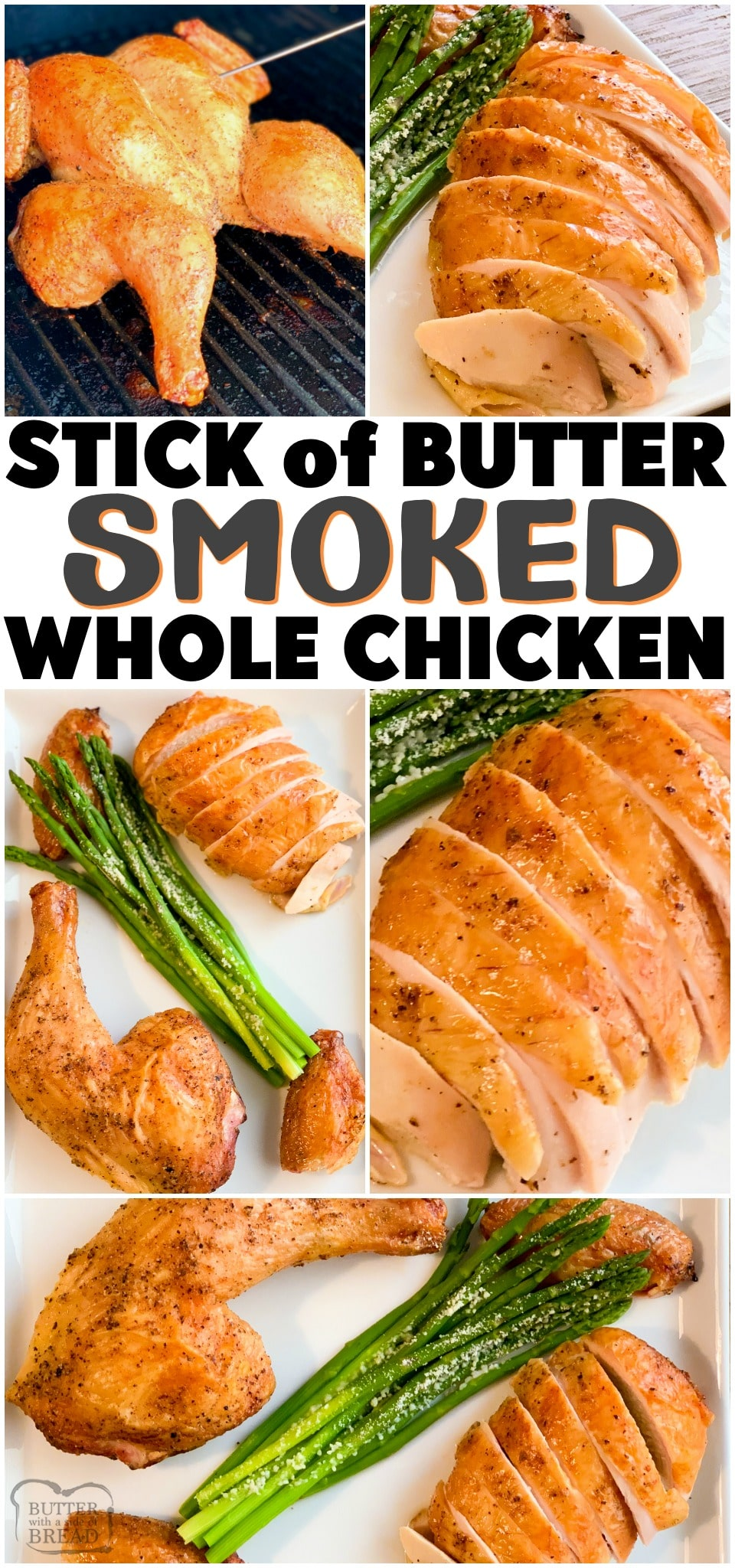 Butter Smoked Whole Chicken that's moist and super flavorful! Spatchcocked chicken cooked in a smoker, brushed with a stick of melted butter and fresh herbs for a perfect whole chicken dinner.