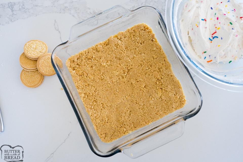 Golden Oreo crust for the lush cake
