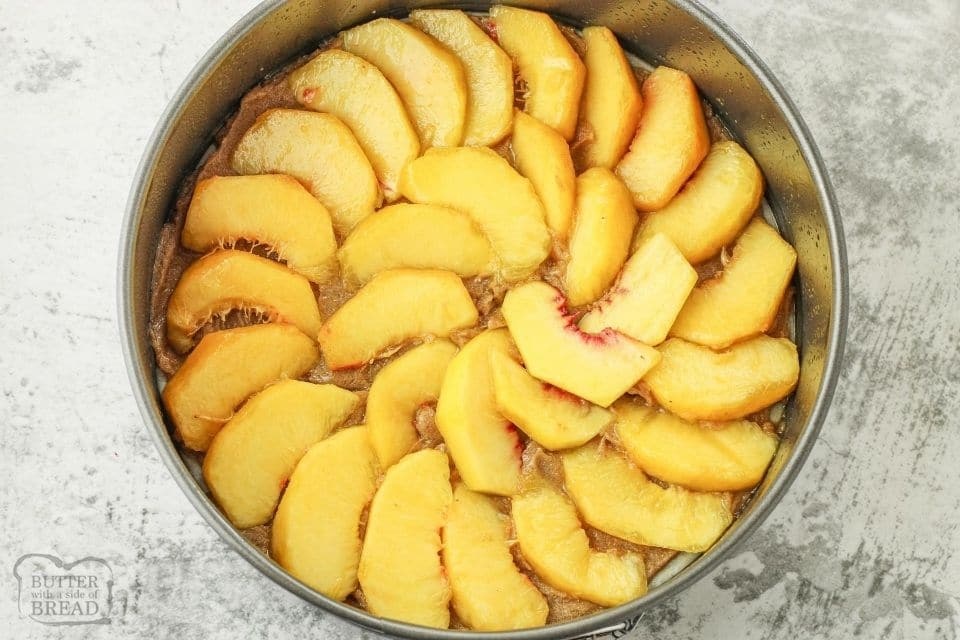 sliced peaches on bottom of springform pan
