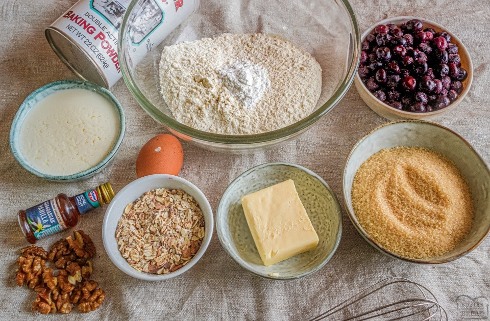 Brown butter blueberry muffins ingredients