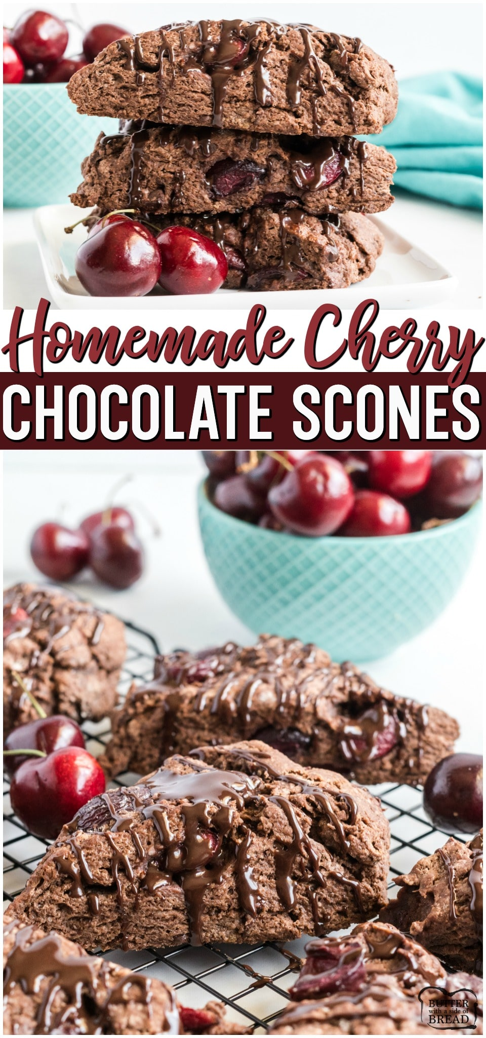 Cherry Chocolate Scones made with fresh cherries & dark chocolate for a perfect soft, sweet chocolate scone. Soft & flavorful homemade scone recipe great for breakfast or a treat! #scones #cherry #chocolate #baking #recipe #breakfast #dessert #scones from BUTTER WITH A SIDE OF BREAD