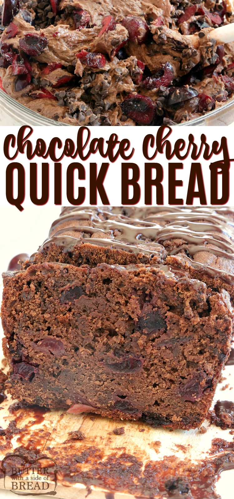 Chocolate Cherry Quick Bread is moist, sweet and full of chocolate and fresh cherries! This easy quick bread recipe is so simple to make and absolutely delicious!