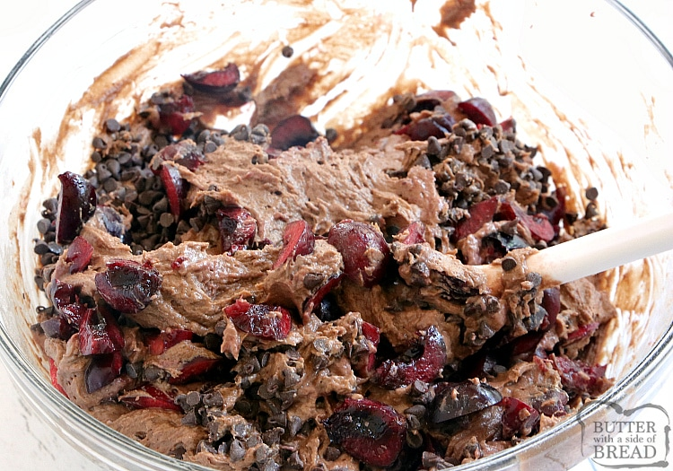 Stirring batter for chocolate cherry quick bread