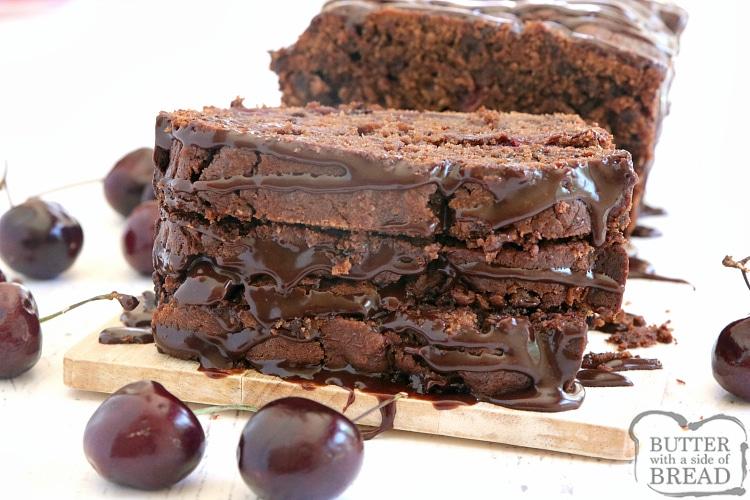 Easy chocolate quick bread recipe with fresh cherries