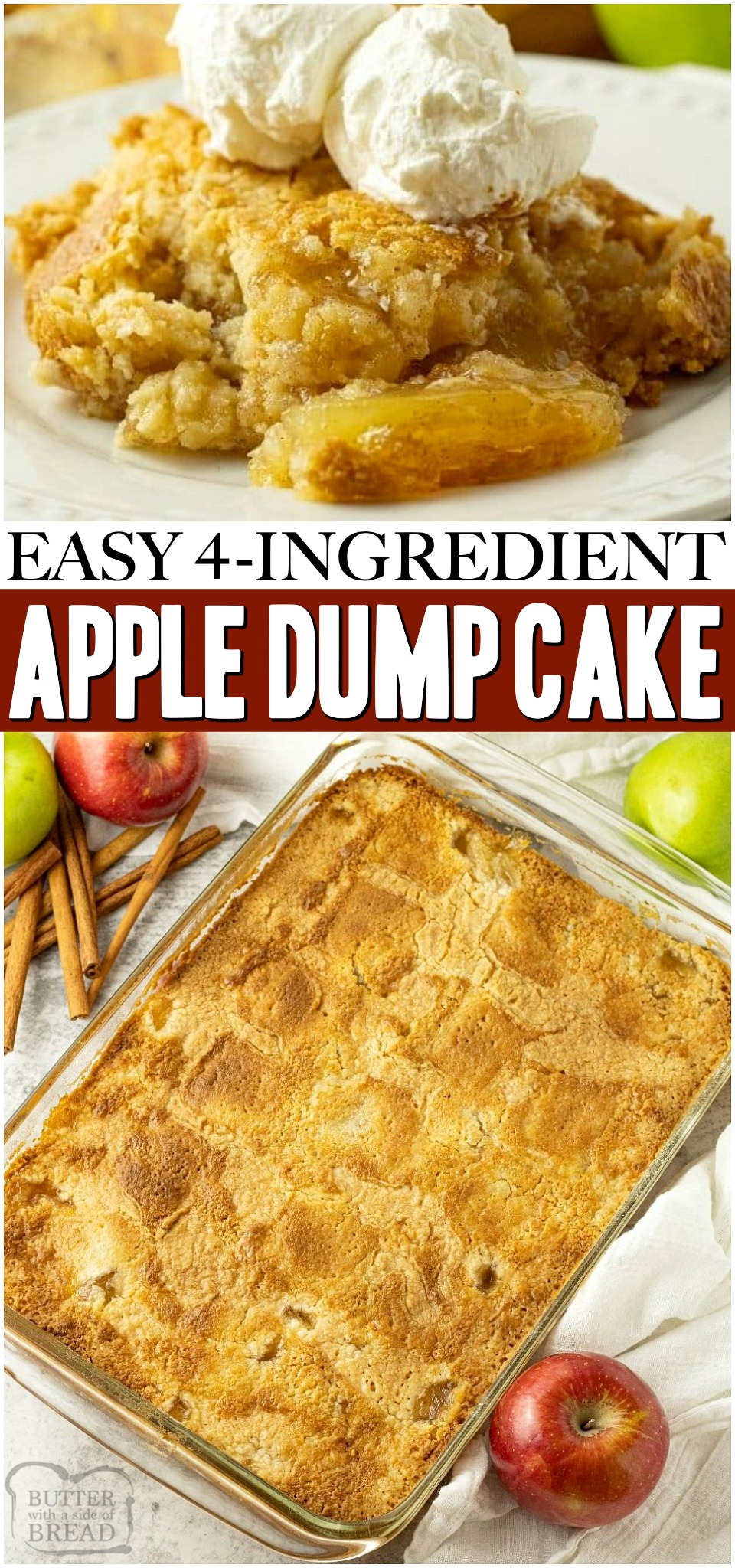 Easy Apple Dump Cake recipe with just 4 simple pantry ingredients! Cake mix & apple pie filling transform into a delicious apple dessert perfect for any occasion. #cake #apples #dumpcake #applecinnamon #butter #dessert #baking #recipe from BUTTER WITH A SIDE OF BREAD