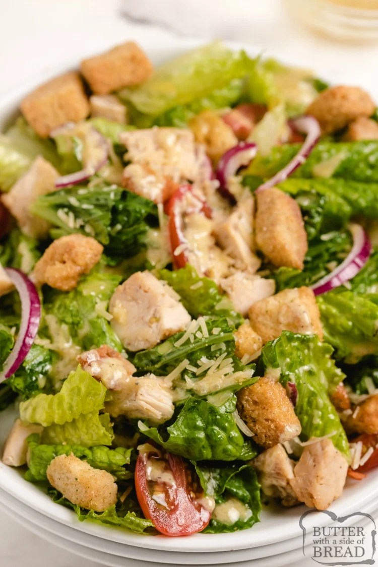 Caesar salad with lemon dressing and grilled chicken