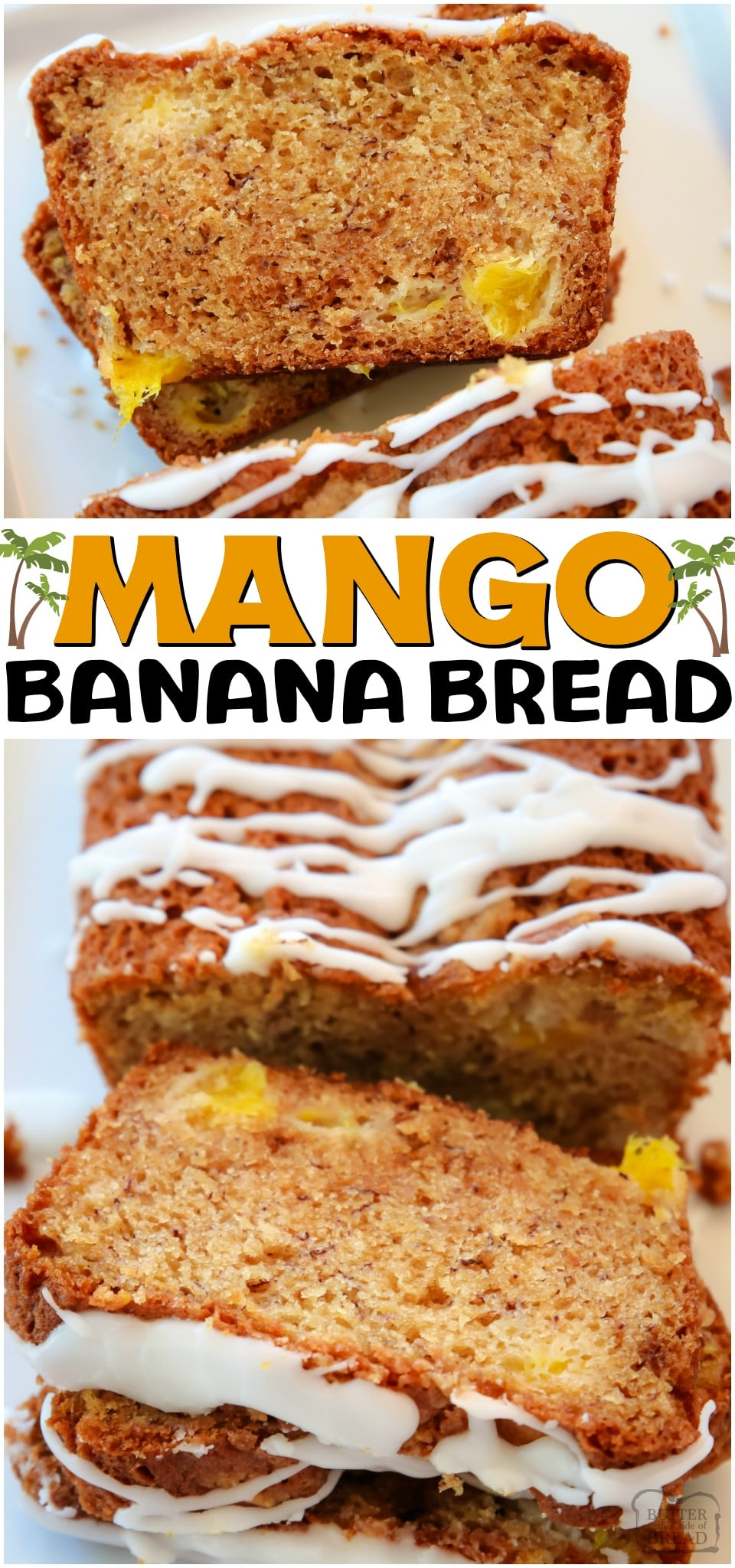 Mango Banana Bread made with ripe bananas and fresh mango, topped with a brown sugar streusel and drizzled with icing. A fantastic variation on a traditional banana bread recipe! #bread #banana #mango #baking #sweetbread #quickbread #recipe from BUTTER WITH A SIDE OF BREAD