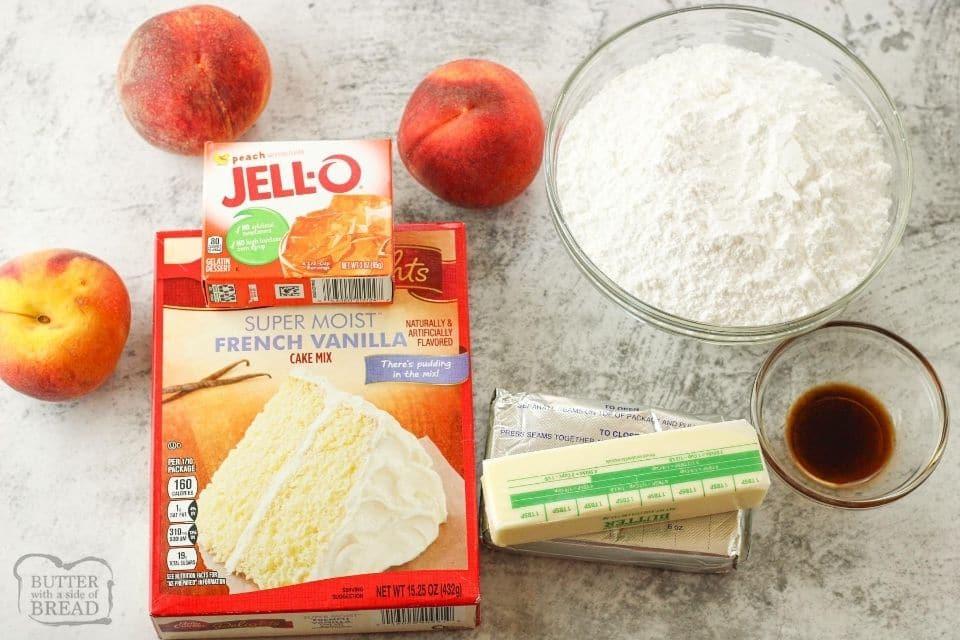 ingredients for jello poke cake. Cake mix, jello, peaches, cream cheese, butter and powdered sugar