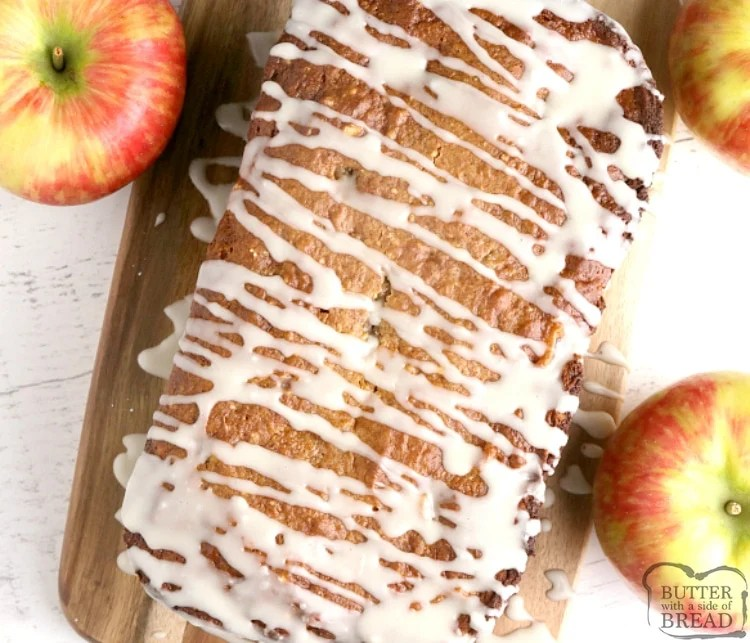 Apple Pie Quick Bread is made with a cake mix, apple pie filling and then topped with a simple maple glaze. This easy quick bread recipe tastes just like apple pie!