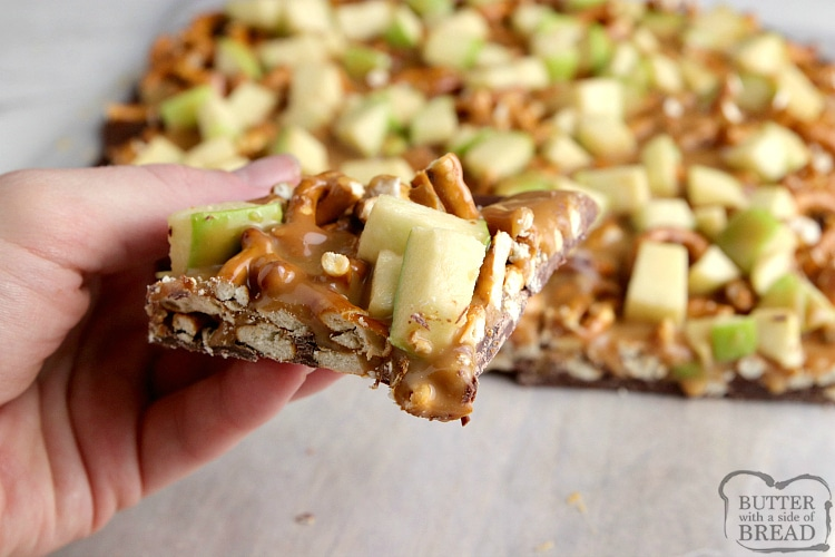 Caramel Apple Bark made with milk chocolate, pretzels, caramel and apples. Only four ingredients to make this simple dessert!